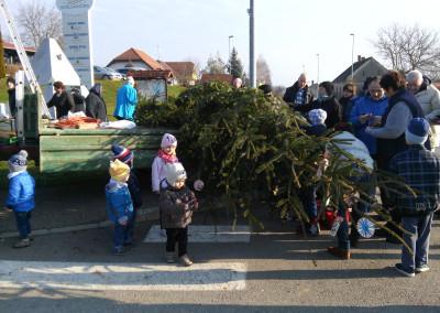 Krasitev jelke pri trgovini/A karácsonyfa diszítése a bolt előtt